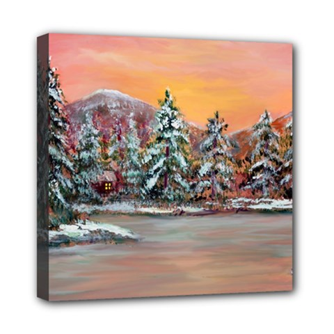 jane s Winter Sunset   By Ave Hurley Of Artrevu   Mini Canvas 8  X 8  (stretched) by ArtRave2
