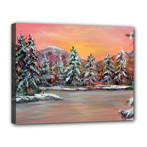 jane s Winter Sunset   By Ave Hurley Of Artrevu   Canvas 14  X 11  (stretched) by ArtRave2