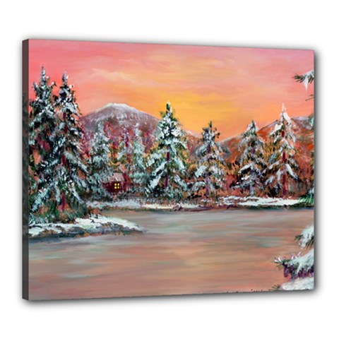 jane s Winter Sunset   By Ave Hurley Of Artrevu   Canvas 24  X 20  (stretched) by ArtRave2
