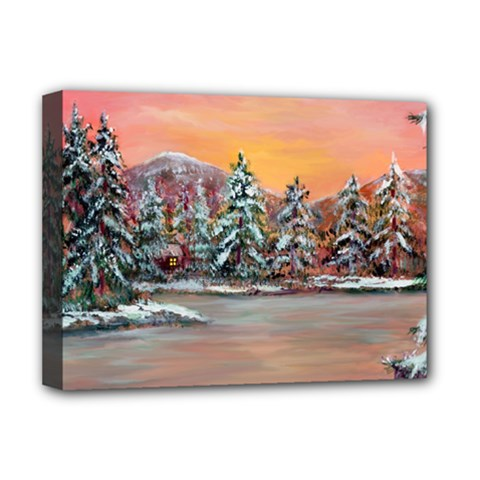 jane s Winter Sunset   By Ave Hurley Of Artrevu   Deluxe Canvas 16  X 12  (stretched)  by ArtRave2