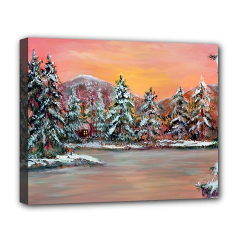jane s Winter Sunset   By Ave Hurley Of Artrevu   Deluxe Canvas 20  X 16  (stretched) by ArtRave2