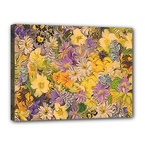 Spring Flowers Effect Canvas 16  X 12  (framed)