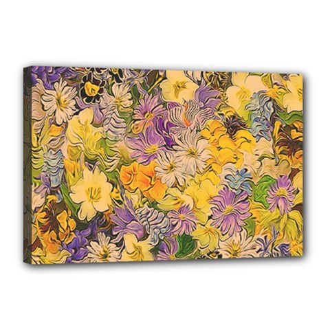 Spring Flowers Effect Canvas 18  X 12  (framed)