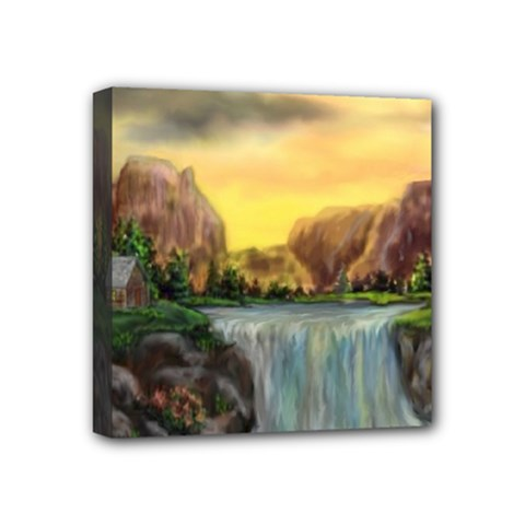 Brentons Waterfall   Ave Hurley   Artrave   Mini Canvas 4  X 4  (framed) by ArtRave2
