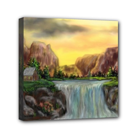 Brentons Waterfall   Ave Hurley   Artrave   Mini Canvas 6  X 6  (framed) by ArtRave2