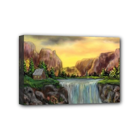 Brentons Waterfall   Ave Hurley   Artrave   Mini Canvas 6  X 4  (framed) by ArtRave2