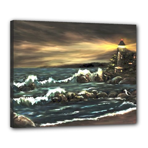 bridget s Lighthouse   By Ave Hurley Of Artrevu   Canvas 20  X 16  (stretched) by ArtRave2