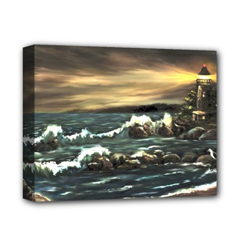bridget s Lighthouse   By Ave Hurley Of Artrevu   Deluxe Canvas 14  X 11  (stretched) by ArtRave2