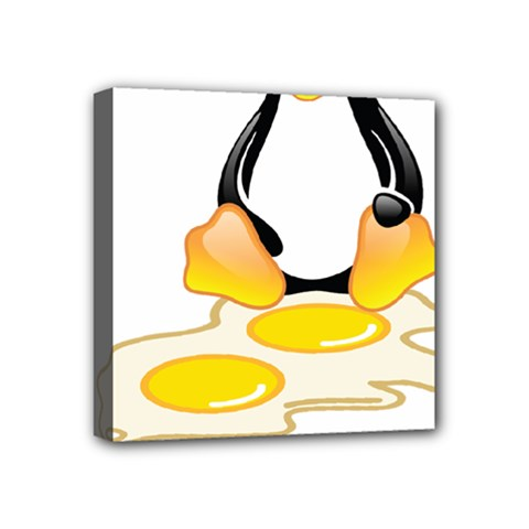 Linux Tux Penguin Birth Mini Canvas 4  X 4  (framed) by youshidesign