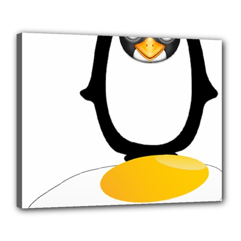 Linux Tux Pengion Oops Canvas 20  X 16  (framed) by youshidesign