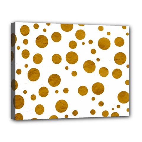 Tan Polka Dots Canvas 14  X 11  (framed) by Colorfulart23