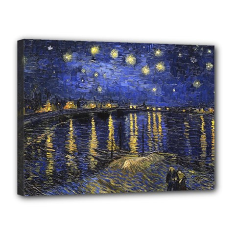 Vincent Van Gogh Starry Night Over The Rhone Canvas 16  X 12  (framed)