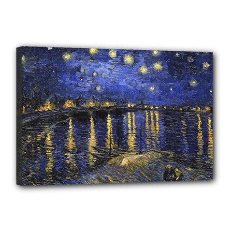 Vincent Van Gogh Starry Night Over The Rhone Canvas 18  X 12  (framed) by MasterpiecesOfArt