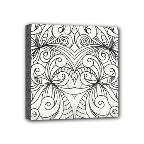 Drawing Floral Doodle 1 Mini Canvas 4  X 4  (framed) by MedusArt
