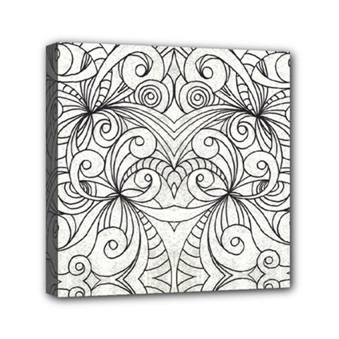 Drawing Floral Doodle 1 Mini Canvas 6  X 6  (framed) by MedusArt