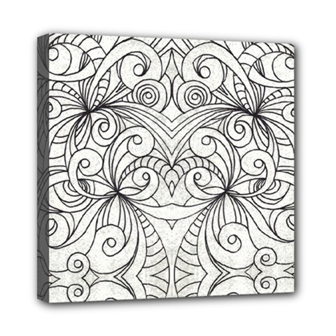 Drawing Floral Doodle 1 Mini Canvas 8  X 8  (framed) by MedusArt