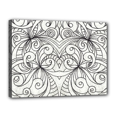 Drawing Floral Doodle 1 Canvas 16  X 12  (framed) by MedusArt