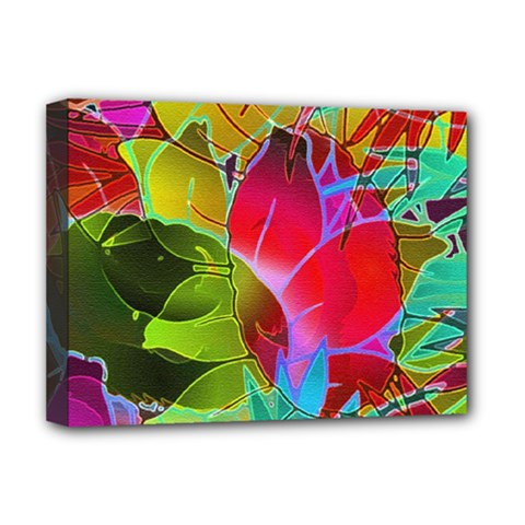 Floral Abstract 1 Deluxe Canvas 16  X 12  (framed)  by MedusArt