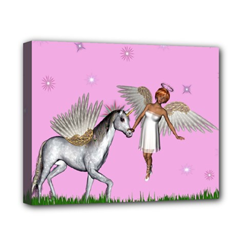 Unicorn And Fairy In A Grass Field And Sparkles Canvas 10  X 8  (framed) by goldenjackal