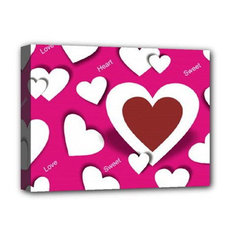 Valentine Hearts  Deluxe Canvas 16  X 12  (framed)  by Colorfulart23