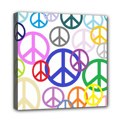 Peace Sign Collage Png Mini Canvas 8  X 8  (framed) by StuffOrSomething