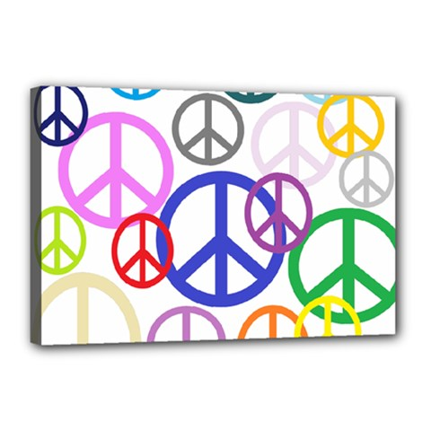 Peace Sign Collage Png Canvas 18  X 12  (framed)