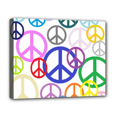 Peace Sign Collage Png Deluxe Canvas 20  X 16  (framed)