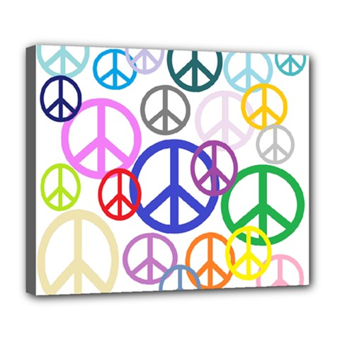 Peace Sign Collage Png Deluxe Canvas 24  X 20  (framed)