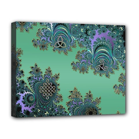 Celtic Symbolic Fractal Design In Green Deluxe Canvas 20  X 16  (framed) by UROCKtheWorldDesign