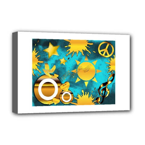 Musical Peace Deluxe Canvas 18  X 12  (framed) by StuffOrSomething