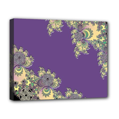 Purple Symbolic Fractal Deluxe Canvas 20  X 16  (framed)