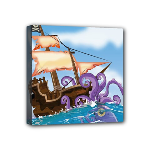 Pirate Ship Attacked By Giant Squid Cartoon  Mini Canvas 4  X 4  (framed)