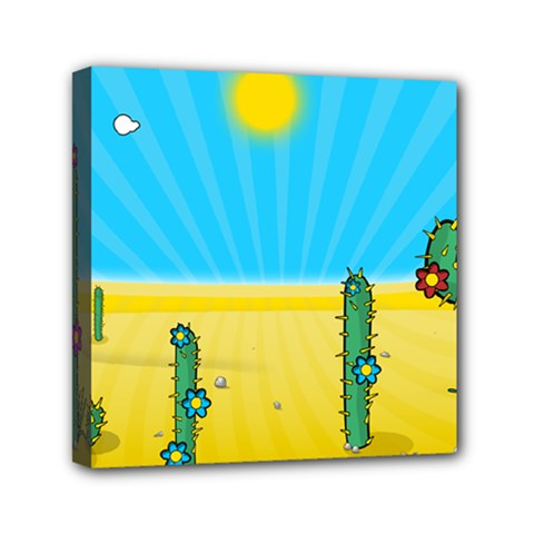 Cactus Mini Canvas 6  X 6  (framed) by NickGreenaway