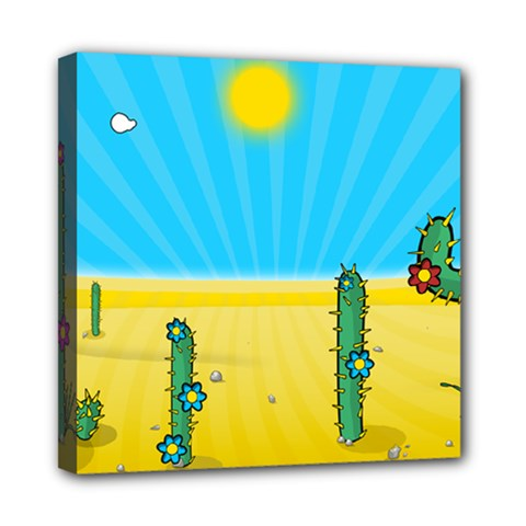 Cactus Mini Canvas 8  X 8  (framed) by NickGreenaway