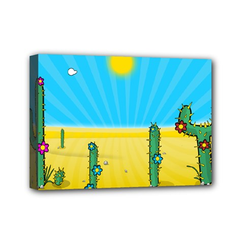 Cactus Mini Canvas 7  X 5  (framed) by NickGreenaway