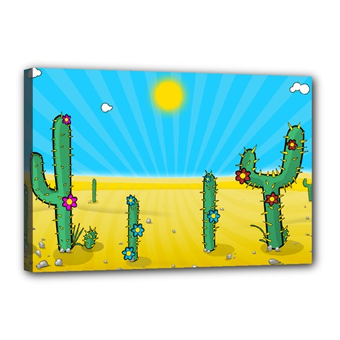 Cactus Canvas 18  X 12  (framed) by NickGreenaway