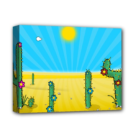 Cactus Deluxe Canvas 14  X 11  (framed) by NickGreenaway