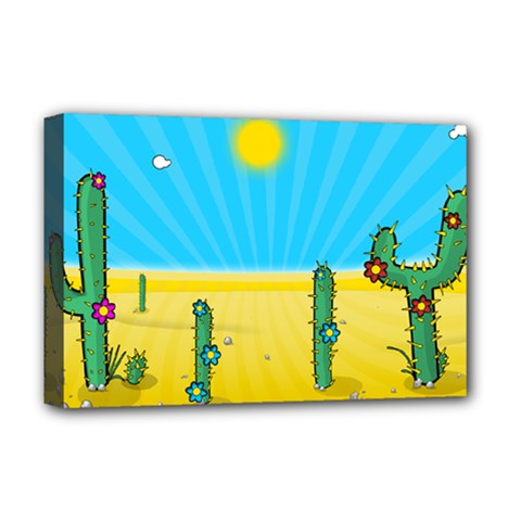 Cactus Deluxe Canvas 18  X 12  (framed) by NickGreenaway