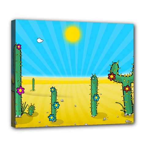 Cactus Deluxe Canvas 24  X 20  (framed) by NickGreenaway