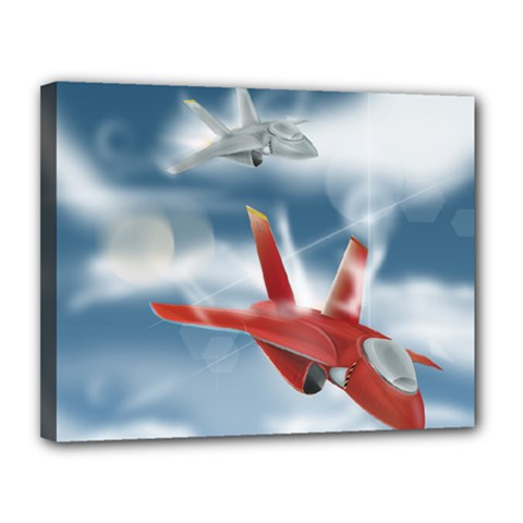America Jet Fighter Air Force Canvas 14  X 11  (framed) by NickGreenaway