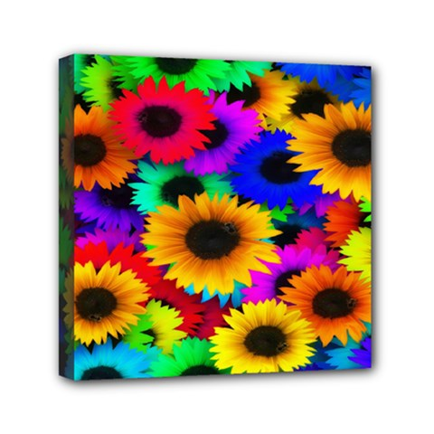 Colorful Sunflowers Mini Canvas 6  X 6  (framed)