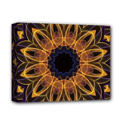 Yellow Purple Lotus Mandala Deluxe Canvas 14  X 11  (framed) by Zandiepants