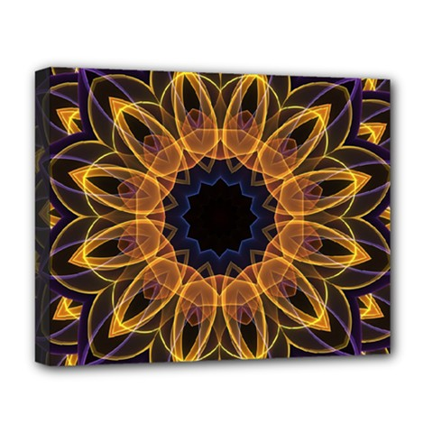 Yellow Purple Lotus Mandala Deluxe Canvas 20  X 16  (framed) by Zandiepants