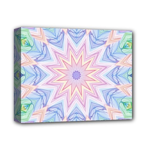 Soft Rainbow Star Mandala Deluxe Canvas 14  X 11  (framed) by Zandiepants