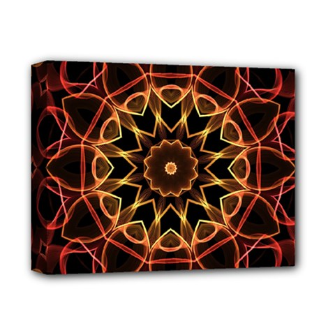 Yellow And Red Mandala Deluxe Canvas 14  X 11  (framed) by Zandiepants