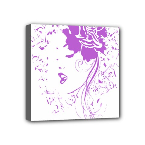 Purple Woman Of Chronic Pain Mini Canvas 4  X 4  (framed) by FunWithFibro