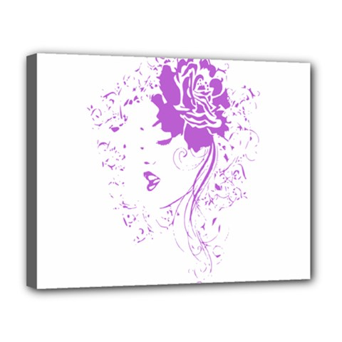 Purple Woman Of Chronic Pain Canvas 14  X 11  (framed) by FunWithFibro