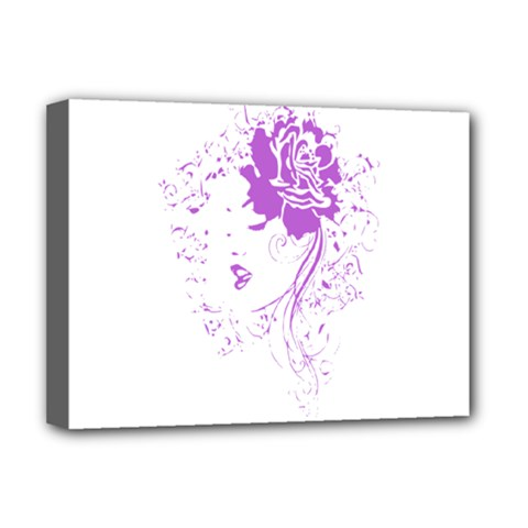 Purple Woman Of Chronic Pain Deluxe Canvas 16  X 12  (framed)  by FunWithFibro