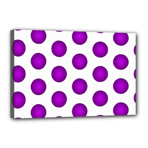 Purple And White Polka Dots Canvas 18  X 12  (framed) by Colorfulart23