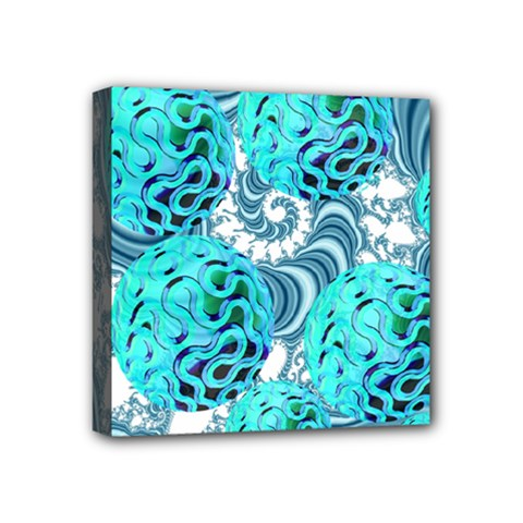 Teal Sea Forest, Abstract Underwater Ocean Mini Canvas 4  X 4  (framed) by DianeClancy